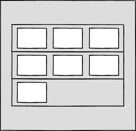 Wireframe showing three rows of boxes