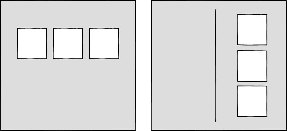 Wireframes showing different configurations of boxes at different sizes