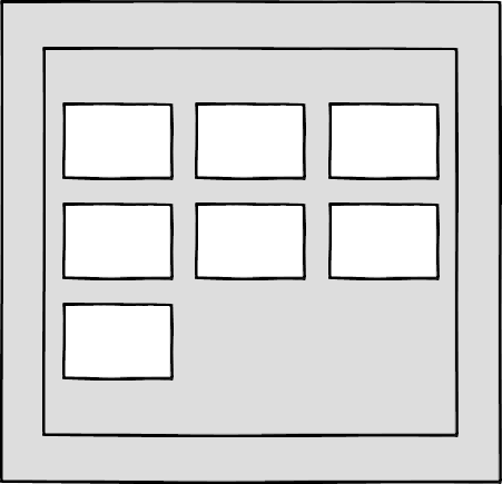 A wireframe showing seven boxes in a larger container