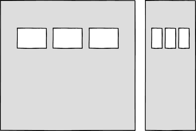 Wireframes showing three boxes at a large size, and three very narrow boxes at a mobile size