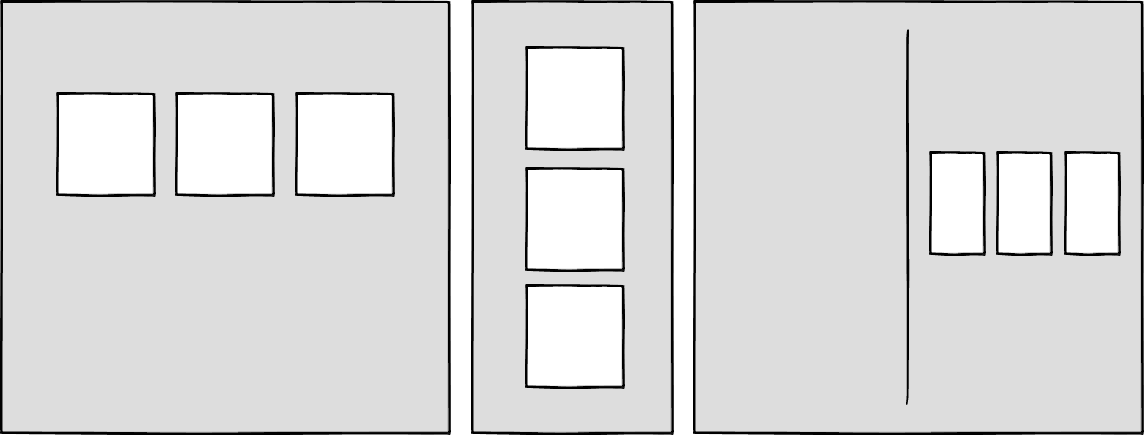 Wireframes showing different configurations of boxes at three different sizes